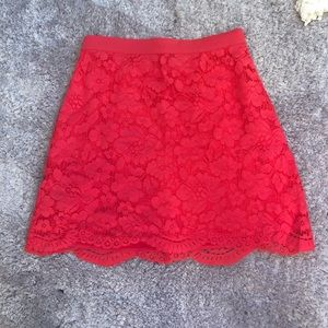 Bebe red lace A-line skirt